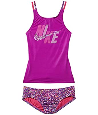 Nike Girl's Spiderback Tankini Set (Little Kids/Big Kids) Vivid Purple SM (7-8 Big Kids)