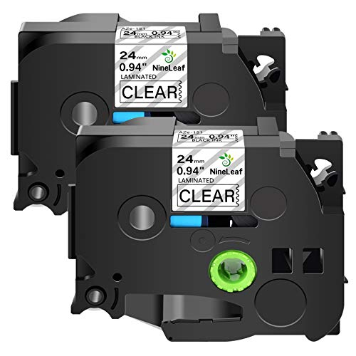 Nineleaf 2 Pack Black on Clear 24 mm x 8 m 1'' 26.2ft Label Tape Refill Compatible for Brother P-Touch TZe151 TZ-151 TZe-151 TZ151 Laminated for PT-P700 PT-P750W PT-D600 PT-520 PT-530 Label Maker