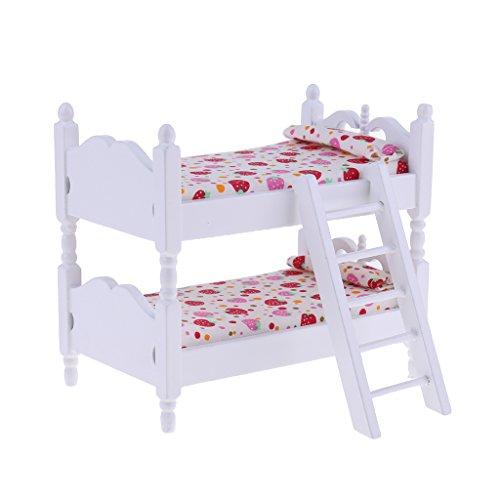 Sharplace Miniatur Holz Etagenbett Stockbett für 1/12 Puppenhaus Kinderzimmer Deko - # Erdbeere