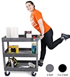 Stand Steady Tubstr 3 Shelf Utility Cart | Heavy Duty Service Cart Supports Up to 400 lbs | Tub Cart with Deep Shelves | Great for Warehouse, Garage, Cleaning, Office & More (32 x 18 / Gray)