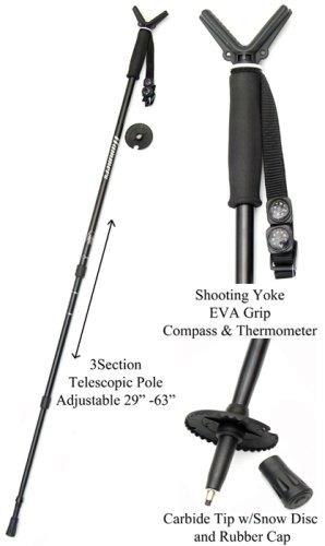 Hammers Telescopic Collapisble Shooting Stick Monopod Gun Pod w/V Yoke Rest Mount