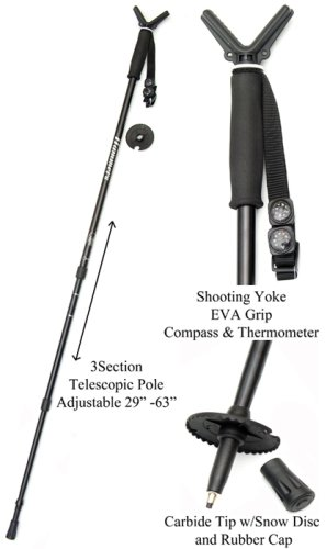 Hammers Telescopic Collapisble Shooting Stick Monopod Gun Pod w/V Yoke Rest Mount