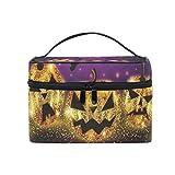 Ahomy - Bolsa de maquillaje para Halloween, diseño de calabazas, color dorado brillante