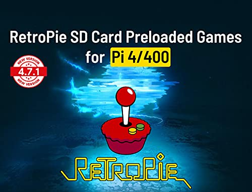 Retropie Gaming Console ROMs v4.7 64GB microSD Card Preloaded Games for Raspberry Pi 4/400, Retropie Emulation Console Plug & Play Fully Loaded Game System Compatible with Xbox/PS1 Controller