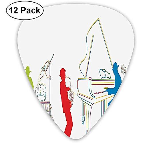 12 Pack a Energetic Jazz Band Instrument Gitaar Picks Complete Gift Set voor Gitarist