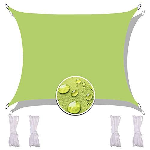 Vela Sombra Impermeable 2X4M, Multifunción Toldo Resistente Resistente a la Rotura Paño de Oxford Incluyendo Cuerda de Sujeción para Patio Verde