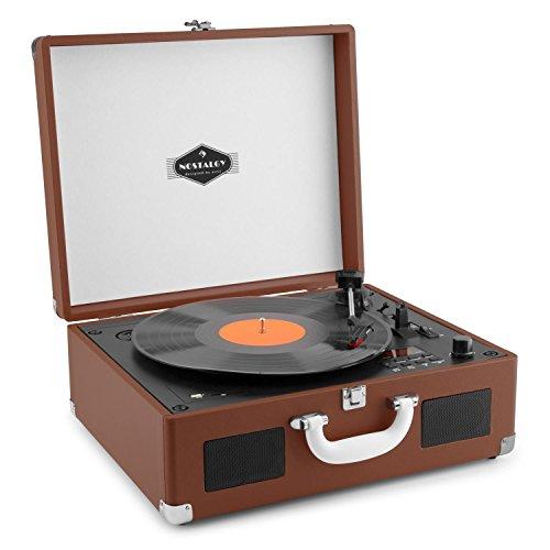 auna Peggy Sue CD tocadiscos retro (USB, SD, reproductor de CD, altavoces estéreo integrados, salida RCA, digitalizador LP) - marrón oscuro