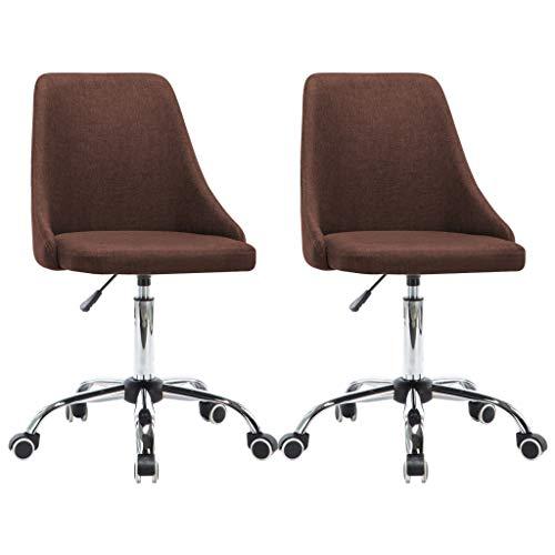 vidaXL 2x Kantoorstoel met wieltjes Stof Bruin Computerstoel Bureaustoel Stoel