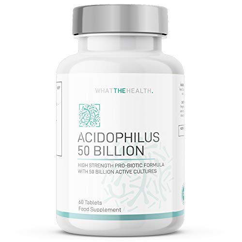 What The Health - 50 Billion Probiotics | 60 Tablets 1 Month Supply | Advanced Lactobacillus Acidophilus CFU 50 Billion Tablets | Bio Cultures Digestive and Immune Support for Adults (Men/Women)