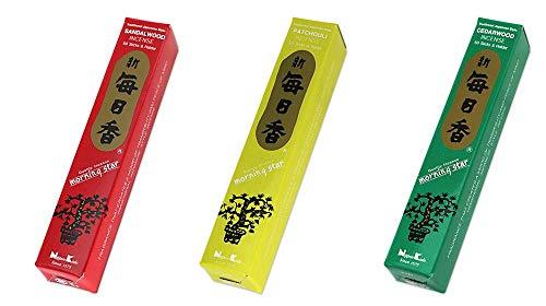 nippon kodo - Tres cajas de incienso Morning Star de cedro, sándalo y pachuli.