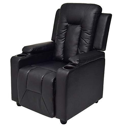 Adjustable Recliner Sofa Theater Lounge Armchair with Padded Top Arms and Cup Holders PU Leather - Black