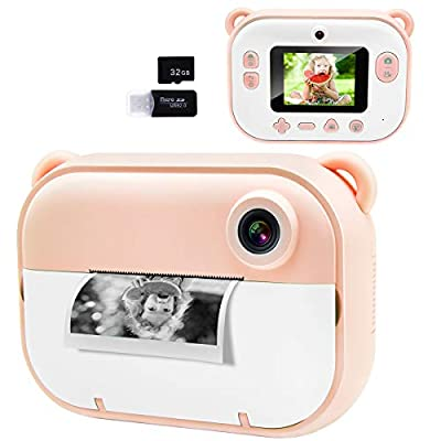 """Joytrip Kids Instant Print Camera, Kids Camera with 2.4"""" HD Large Screen LCD, Zero Ink Digital Camera with Thermal PrintingPaper and CartoonStickers, 3-14 Years Old Children Toy Learning Camera by Joytrip"""