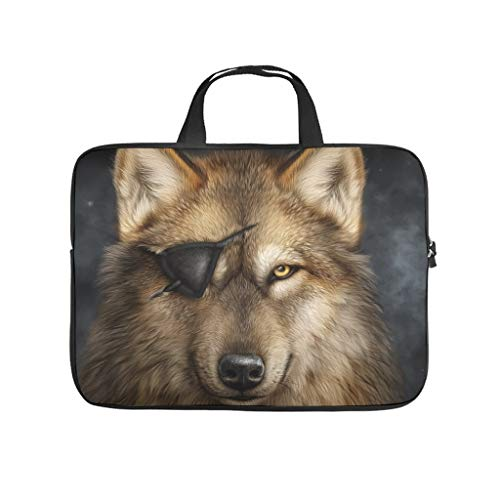 Pirate Wolf Animal 3D Print Laptop Bag Protective Case Waterproof Neoprene Laptop Bag Case Cover Personalized Laptop Sleeve Case for Wife Husband