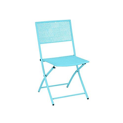 greemotion Klappstuhl Mykonos im 2er-Set in Türkis-Blau - Gartenstuhl Metall - Campingstuhl aus Stahl pulverbeschichtet - Garten-Stuhl für Terrasse, Balkon & Camping