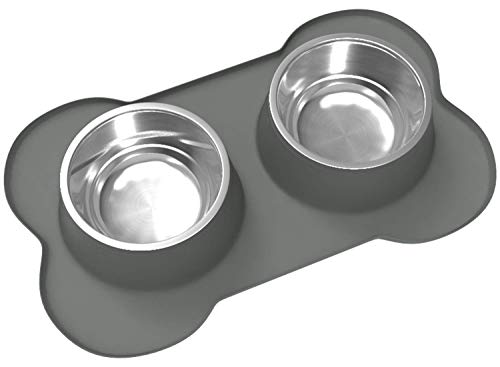Dog Bowls & Mat Set - 2 Large Capacity 27oz (54oz Total) Removable Stainless Steel Bowl Set in a Stylish No Mess, No Spill, Non Skid, Silicone Mat. Food & Water Bowls for Medium to Large Dogs Grey