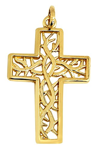 14k Gold Large Gaelic Celtic Vine Cross Pendant
