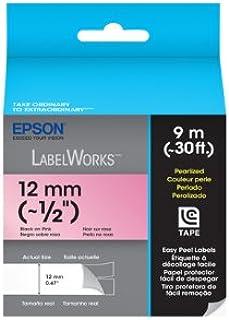 Fita Rotulador Epson LC-4RBL9 12mm Preto/Rosa