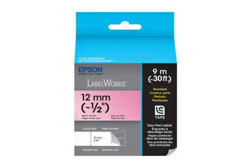 Epson LabelWorks Pearlized LC Tape Cartridge ~1/2-Inch Black on Pink (LC-4RBL9)