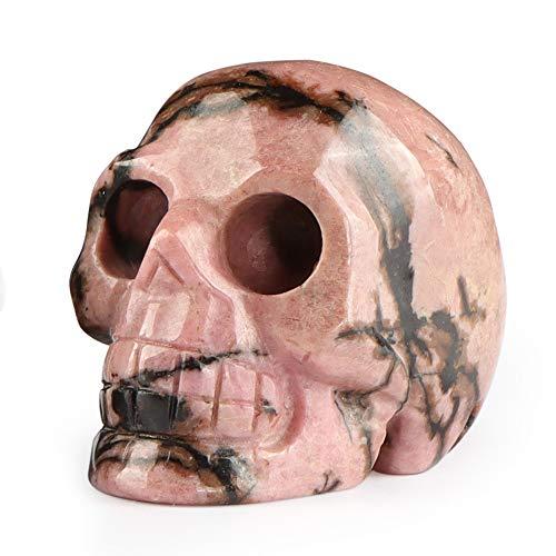 Artistone 2.0' Crystal Skull Statues, Gemstone Skull Healing Stones Hand Carved Fine Art Sculpture Reiki Healing Stone Statue(Rhodonite)