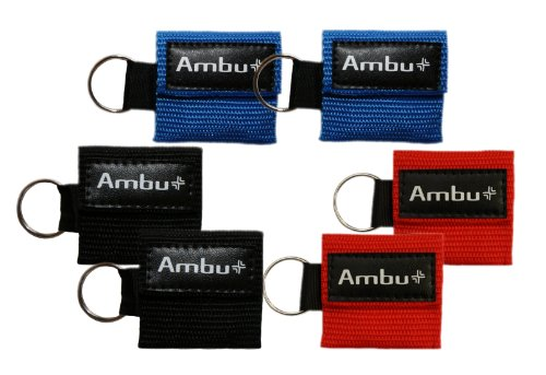 6 Pc Variety Bundle Ambu Res-Cue Key Mini CPR Mask Keychains (2-Rd, 2-Blu, 2-Blk)