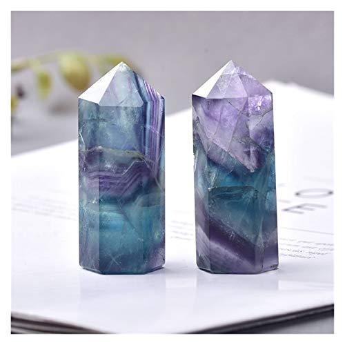 Jengijo 30 Color Piedras Naturales Punto de Cristal Varita Amatista Rose Rose Cuarto Curación Piedra Energía Oro Mineral Artesanías Decoración del hogar 1pc ( Color : Fluorite , Size : 50 60mm )