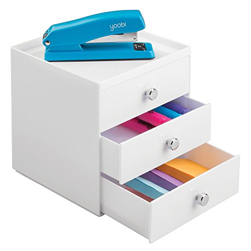 mDesign Desktop Drawer Organiser with 3 Wide Drawers - Perfect for Stationery or Cosmetics - Spacious and Solid Plastic Desk Storage for Stationery - Practical Desk Tidy - White