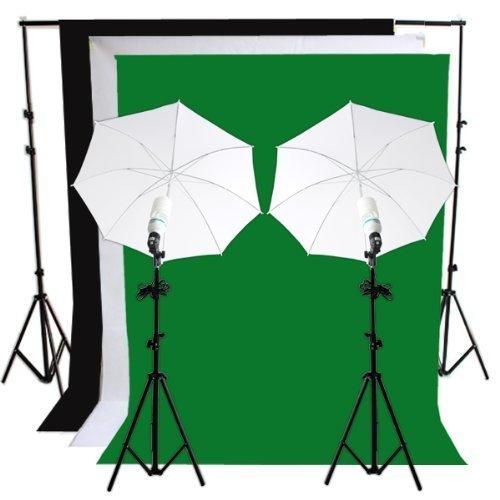 RPGT® Greenscreen-Set Hintergrundsystem 2x2,8m mit Fotolampen & Reflexschirm