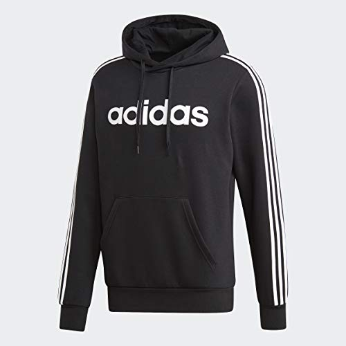 adidas Essentials Men's 3-Stripes Pullover Hoodie, Black/White, X-Large