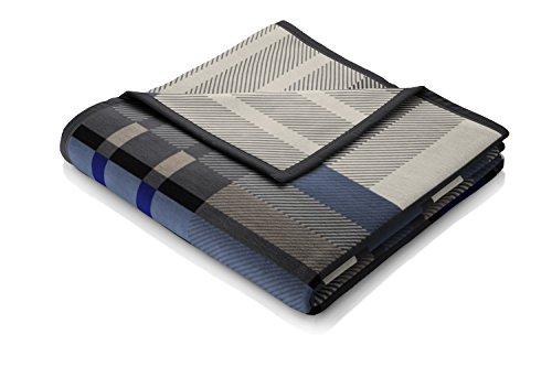 Biederlack Wohn- und Kuscheldecke, 86 % Polyacryl (Dralon), Veloursband-Einfassung, 150 x 200 cm, Blau, Thermosoft Top Scotland Blue, 646668