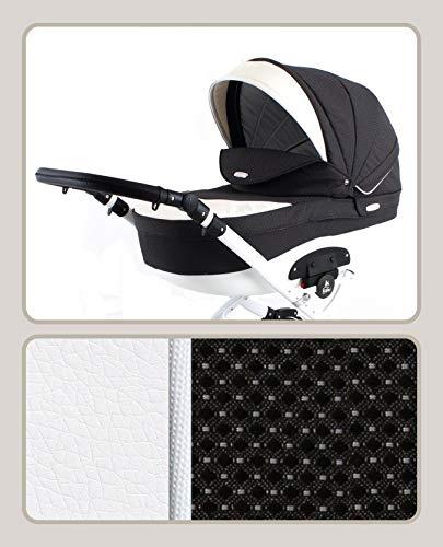 Lux4Kids Kinderwagen Retro Isofix Konfigurator Farbwahl Buggy Autositz T2R Black Pattern T-11 2in1 ohne Babyschale