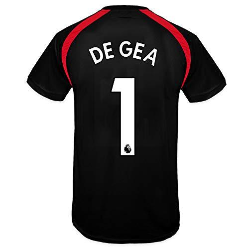 Manchester United FC - Camiseta Oficial de Entrenamiento - Para Niño - Poliéster - Negro De GEA 1-6-7 Años
