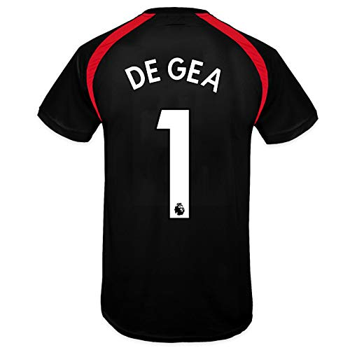 Manchester United FC Mens De Gea 1 Poly Training Kit T-Shirt Black Small