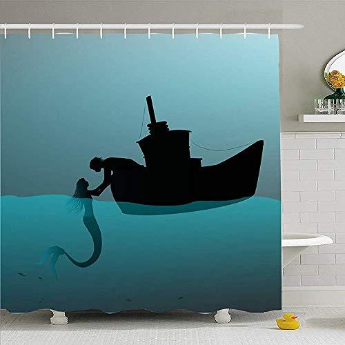 Duschvorhang mit Haken 140X180 cm Meerjungfrau-Mann-Mädchen auf Boot Zwei Nachturlaub-Schwimmen-Schatten Locken Fisch-Leute-Lagunen-Park-Natur im Freien an
