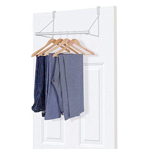 Amazon Brand – Umi Over Door Hanger Closet Rod Metal Clothes Rack Organiser to Fit the Most Popular Door Widths, Ideal Over Door Hooks to Use as Towel Coat Hanger Wardrobe Door Hook, White
