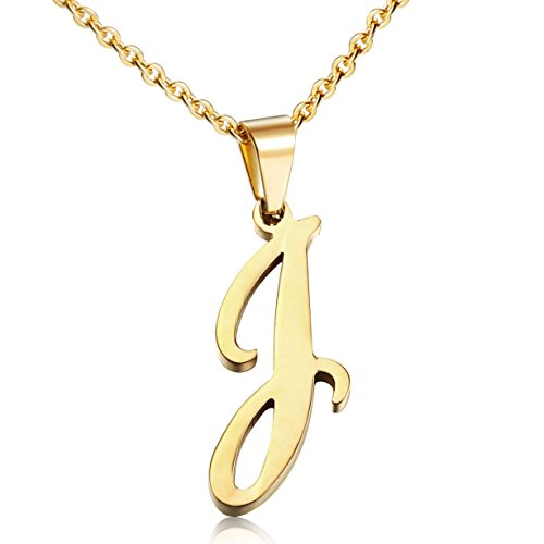 Besteel Womens Mother and Daughter Stainless Steel Alphabet Name Initial Letters Pendant Necklace Letter J
