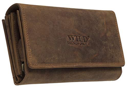 Robuste Buisness Damen Geldbörse aus Büffelleder in Beige mit ca. 24 Karten Fächern und mit viel Platz