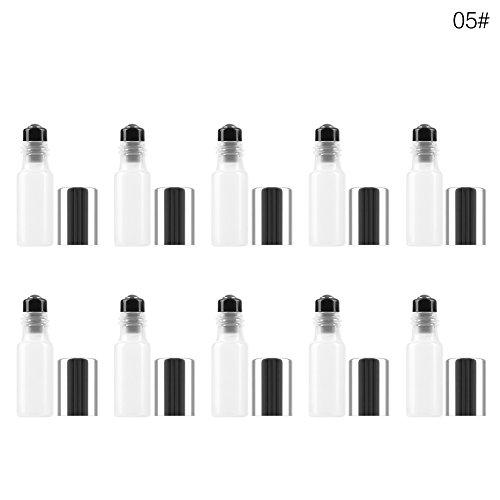 10er Set Sub-Flasche Kosmetikflasche Puderflasche klein leer Öl klar 5 ml mit Edelstahlperlen