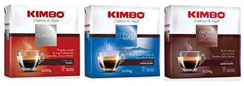 Kimbo Caffè Macinato Kit con 1 x Kimbo Classico, 1 x Aroma di Napoli e 1 x Aroma Deciso, 3 Pacchi (Totale 1500g)