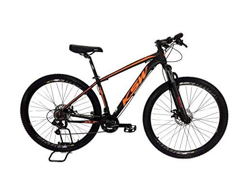 Bicicleta MTB Alum 29 KSW Shimano 24 Vel Freio a Disco Preto/Laranja Fosco 21'