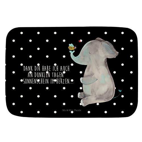Mr. & Mrs. Panda Badteppich, Badezimmerteppich, Badvorleger Elefant & Biene mit Spruch - Farbe Schwarz