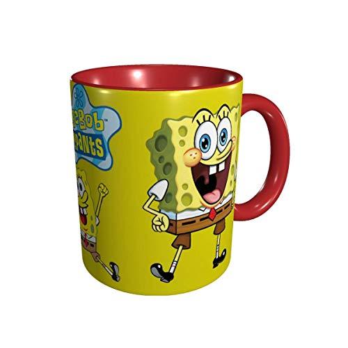 YHJUI Taza de café de cerámica divertida de la novedad de Bob de las tazas de la esponja, taza de té para la oficina y el hogar 330ml rojo