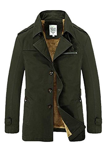 Vogstyle Herren Jungen Langarm Cabanjacke Reverskragen Trenchcoat Mantel Kurzmantel Einreihig Jack Anzug Art 2 Olive M Fur