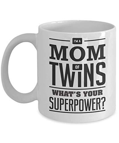NA Mamá de Gemelos - Taza de café - I 'M Una mamá de Gemelos ¿Cuál es tu Superpoder? Blanco 11 oz.