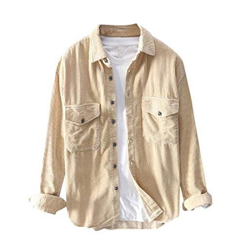 Mens Corduroy Jacket,Vintage Button-Front Solid Casual Corduroy Military Lapel Jackets Shirt with Pocket (Beige, M)