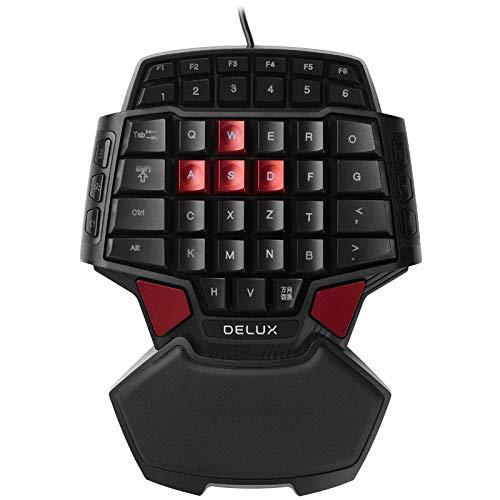 ZQJ Mobile Online-Gaming-Tastatur-T9 One Handed Gaming Keyboard,VRGB Beleuchtung, Ergonomische Gamer Tastatur - 35 Tasten