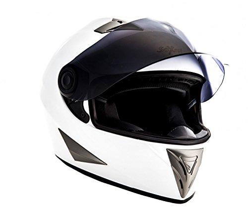 Soxon ST-550 Integral Motorrad-Helm, ECE Visier Schnellverschluss Tasche, L (59-60cm), Snow