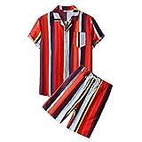 Shirt Pantalones Cortos Hombre Vintage A Rayas Cuello En V Hombre Conjunto Playa Botones Verano Bolsillos Tapeta Cordones Hombres Conjunto Hawaii Vacaciones Hombre Manga Corta