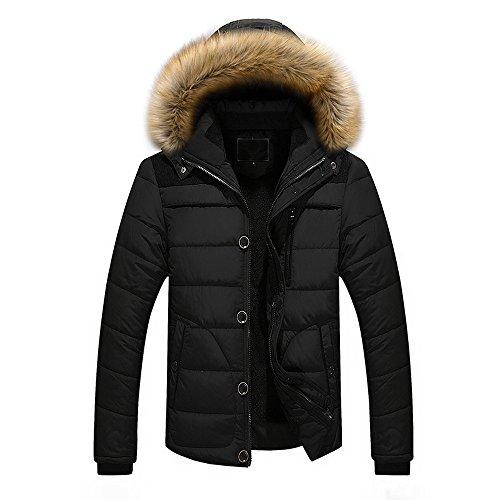 TEBAISE Herren Winter Warme Jacke Daunenjacke Mantel Kurzmantel mit Abnehmbarer Kapuze-Faux Pelzkragenze