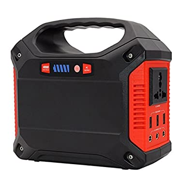 ISUNPOW Portable Generator Power Inverter 42000mAh 155Wh Rechargeable Battery Pack Emergency Power Supply Outdoor Camping Home Charged Solar Panel Wall Outlet Car 110V AC Outlet 3 DC 12V USB Port