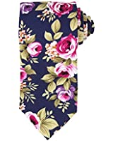 Dan Smith C.C.N.C.036 Dark Blue Green Pink Floral Cotton Neck Tie Popular Accessories